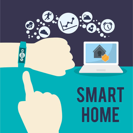 laptop home: watch laptop smart house home technology app icon set. Flat and Colorful illustration. Vector illustration