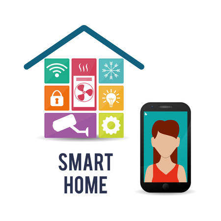 smart woman: smartphone woman smart house home technology app icon set. Flat and Colorful illustration. Vector illustration Illustration