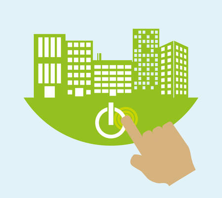 green building: smart city on green hand building technology app icon. Flat and Colorful illustration. Vector illustration