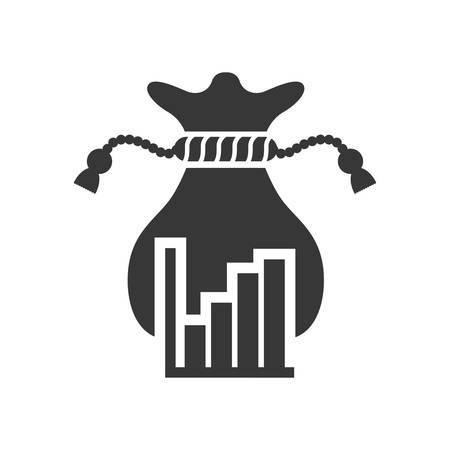 bars money bag financial commerce icon. Flat and Isolated design. Vector illustration