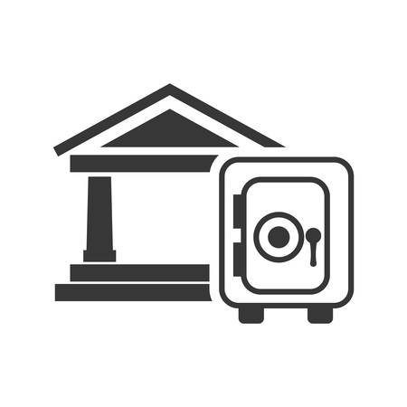 strongbox: bank strongbox money financial commerce icon. Flat and Isolated design. Vector illustration Illustration