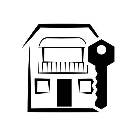 residential neighborhood: home house key silhouette real estate icon. Flat and Isolated design. Vector illustration Illustration