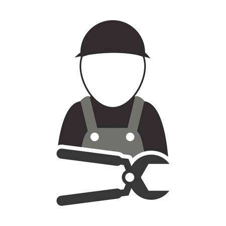 alicates constructer herramienta de reparación del icono de la construcción de la silueta. Diseño plano y aislado. ilustración vectorial