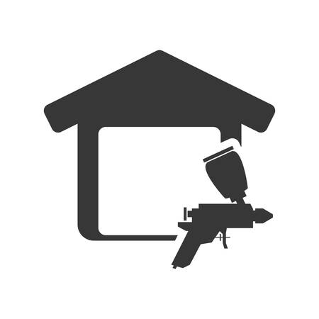 paint tool: paint tool house home repair construction silhouette icon. Flat and Isolated design. Vector illustration