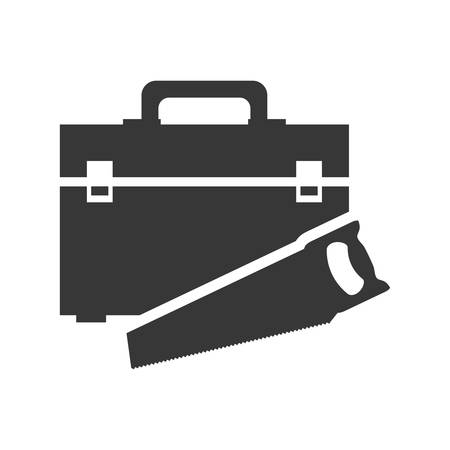 tool kit: saw tool kit box repair construction silhouette icon. Flat and Isolated design. Vector illustration Illustration