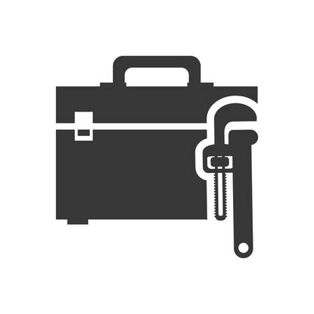 tool kit: wrench tool kit box repair construction silhouette icon. Flat and Isolated design. Vector illustration