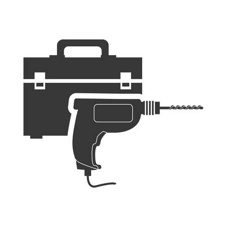 tool kit: drill tool kit box repair construction silhouette icon. Flat and Isolated design. Vector illustration