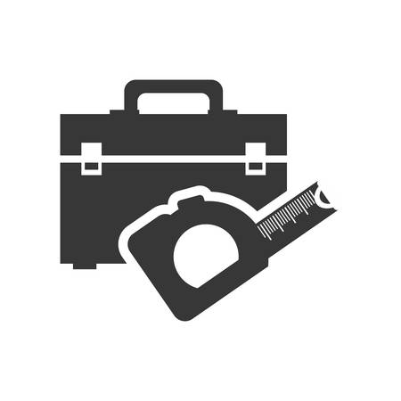 tool kit: meter tool kit box repair construction silhouette icon. Flat and Isolated design. Vector illustration