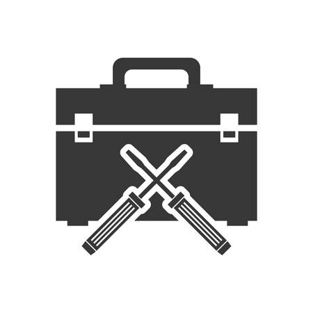 tool kit: screwdriver tool kit box repair construction silhouette icon. Flat and Isolated design. Vector illustration