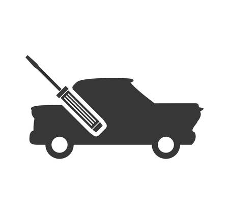 screwdriver tool repair car automobile silhouette icon. Flat and Isolated design. Vector illustration