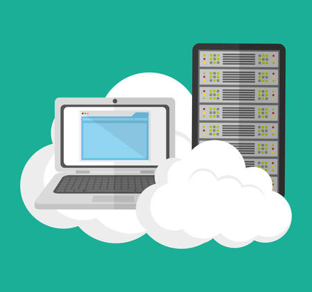 laptop cloud computing web hosting data center security system technology icon set. Colorful and flat design. Vector illustration