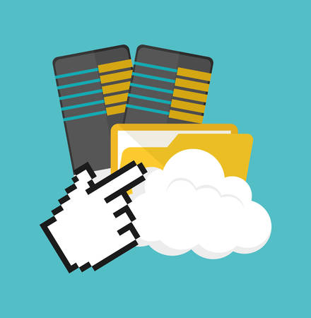 file document cloud computing web hosting data center security system technology icon set. Colorful and flat design. Vector illustration