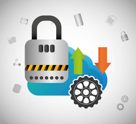 padlock gear cloud computing web hosting data center security system technology icon set. Colorful and flat design. Vector illustration