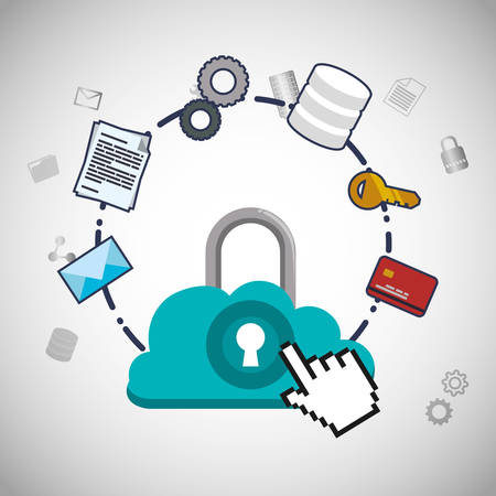 padlock cursor cloud computing web hosting data center security system technology icon set. Colorful and flat design. Vector illustration