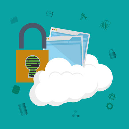 padlock site cloud computing web hosting data center security system technology icon set. Colorful and flat design. Vector illustration Illustration