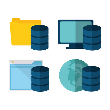 computer system: file folder document computer web hosting data center security system technology icon set. Colorful and flat design. Vector illustration