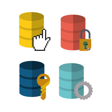 web hosting gear key padlock data center security system technology icon set. Colorful and flat design. Vector illustration