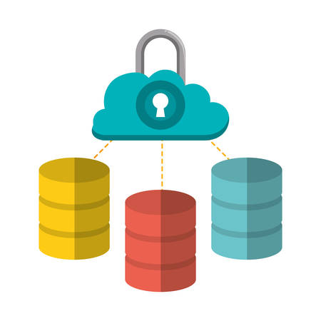 padlock cloud computing web hosting data center security system technology icon set. Colorful and flat design. Vector illustration
