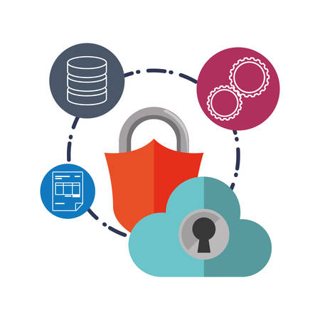padlock gear document cloud computing web hosting data center security system technology icon set. Colorful and flat design. Vector illustration