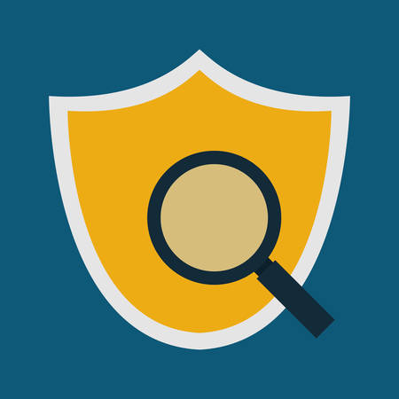 lupe: shield lupe cyber security system technology icon. Colorful and flat design. Vector illustration