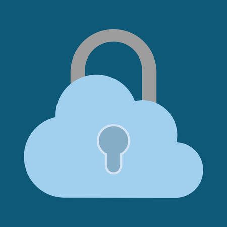 padlock cloud cyber security system technology icon. Colorful and flat design. Vector illustration