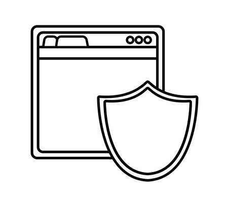 secure site: shield site cyber security system technology icon. Silhouette isolated and flat design. Vector illustration