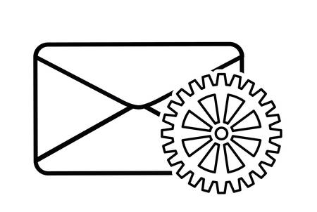 menace: envelope gear cyber security system technology icon. Silhouette isolated and flat design. Vector illustration