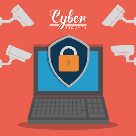 detected: padlock laptop cctv cyber security system technology icon. Colorful and flat design. Vector illustration