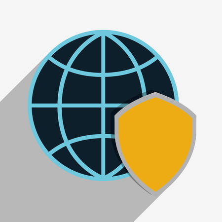 detected: shield global cyber security system technology icon. Colorful and flat design. Vector illustration