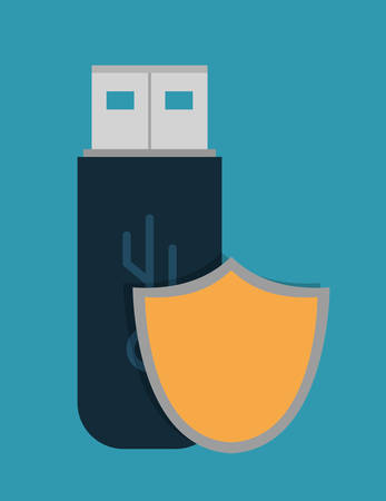 fatal: shield usb cyber security system technology icon. Colorful and flat design. Vector illustration Illustration