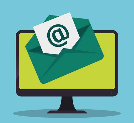 send: envelope computer email marketing send icon. Colorful and flat design. Vector illustration Illustration
