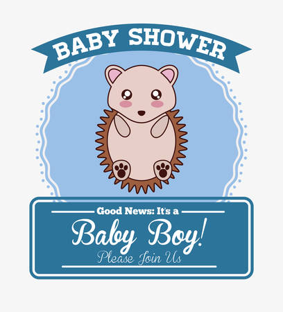 porcupine: porcupine cute animal cartoon baby shower card icon. Colorful and flat design. Vector illustration