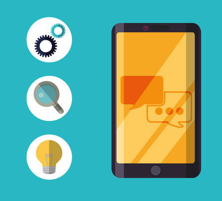 lupe: smartphone gear lupe bulb customer service technical service call center icon set. Colorful and flat design. Vector illustration