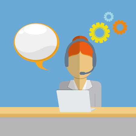executive assistants: woman headphone bubble customer service technical service call center icon set. Colorful and flat design. Vector illustration