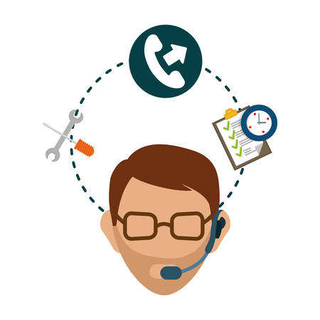 customer service phone: man headphone male phone checklist chronometer customer service technical service call center icon set. Colorful and flat design. Vector illustration