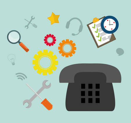 customer service phone: phone gear checklist tools customer service technical service call center icon set. Colorful and flat design. Vector illustration Illustration