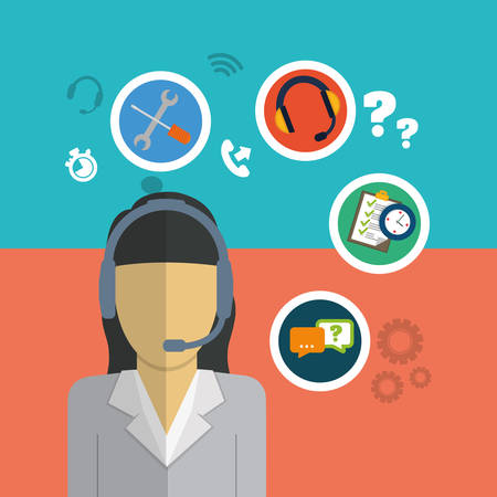 executive assistants: woman headphone tools customer service technical service call center icon set. Colorful and flat design. Vector illustration