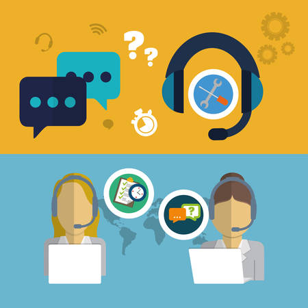 executive assistants: woman headphone laptop customer service technical service call center icon set. Colorful and flat design. Vector illustration