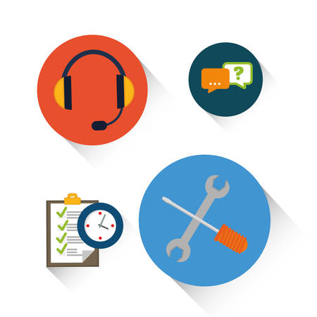 executive assistants: headphone tools bubble checklist customer service technical service call center icon set. Colorful and flat design. Vector illustration