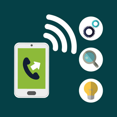 executive assistants: smartphone gear lupe bulb customer service technical service call center icon set. Colorful and flat design. Vector illustration