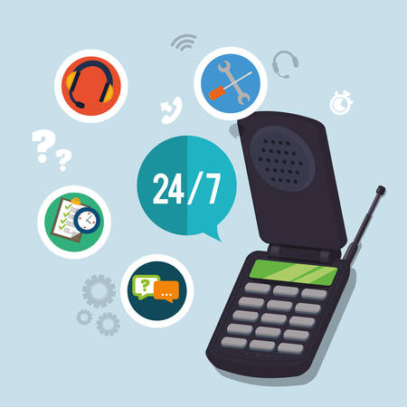 executive assistants: cellphone mobile tools customer service technical service call center icon set. Colorful and flat design. Vector illustration