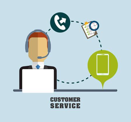 chronometer: man headphone male phone checklist chronometer customer service technical service call center icon set. Colorful and flat design. Vector illustration