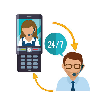 woman cellphone: cellphone mobile woman man headphone customer service technical service call center icon set. Colorful and flat design. Vector illustration Illustration