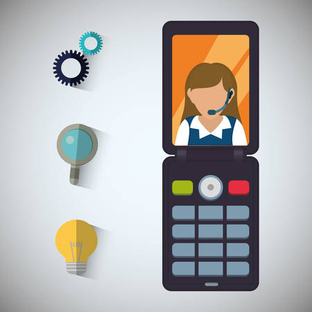 woman cellphone: woman headphone cellphone customer service technical service call center icon set. Colorful and flat design. Vector illustration
