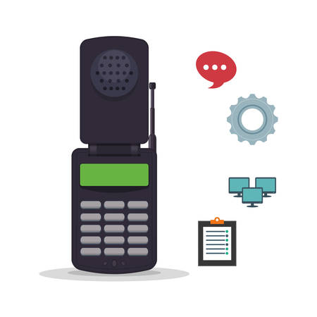 executive assistants: cellphone mobile customer service technical service call center icon set. Colorful and flat design. Vector illustration Illustration