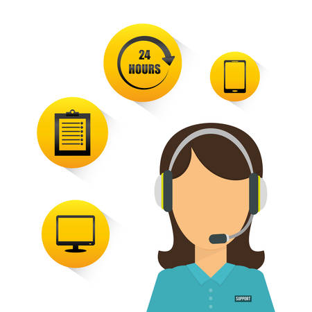 communicator: woman headphone computer smartphone customer service technical service call center icon set. Colorful and flat design. Vector illustration Illustration