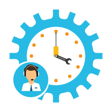 service man: man headphone male gear clock tools customer service technical service call center icon set. Colorful and flat design. Vector illustration Illustration