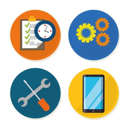 executive assistants: tools smartphone gears checklist customer service technical service call center icon set. Colorful and flat design. Vector illustration Illustration
