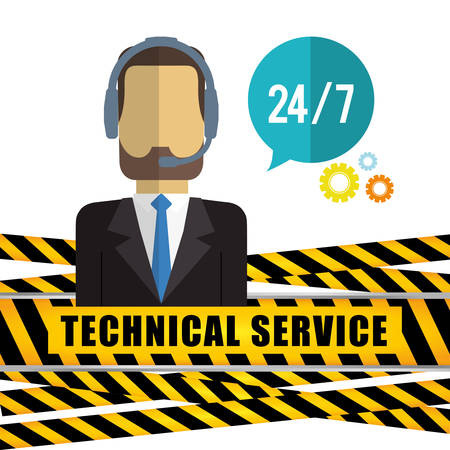 communicator: man headphone male barrier customer service technical service call center icon set. Colorful and flat design. Vector illustration