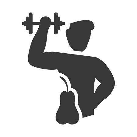 pear weight lifting man healthy lifestyle fitness silhouette icon. Flat and Isolated design. Vector illustration